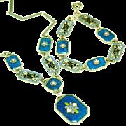 Art Deco Blue Glass & Enamels Vintage Czech Necklace & Bracelet Set
