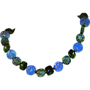 Vintage West Germany Mismarked Cobalt Blues Glass Choker Necklace