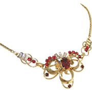 Retro Modern Carl Art Signed Vintage 12k GF Ruby, Clear Baguette Rhinestone Necklace, c.1940