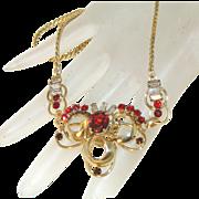 Retro Modern Carl Art Signed Vintage 12k GF Ruby, Clear Baguette Rhinestone Necklace, c.1940