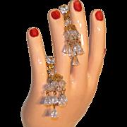 Hattie Carnegie Signed Vintage Crystal Chandelier Clip Earrings