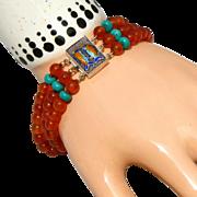 3 Strand Carved Carnelian & Turquoise, Enameling on Sterling Silver Vintage Bracelet