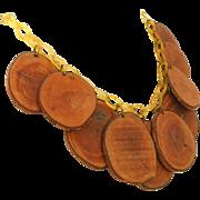 Vintage Celluloid & Wood Chips Vintage Art Deco Fringe Necklace