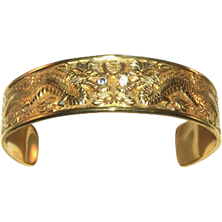 Gold Over Brass Double Chinese Dragon, Rhinestone Paste in Mouth Vintage Cuff Bracelet