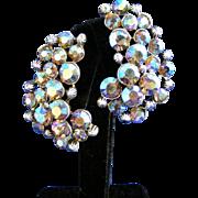 Extra Large Fiery Blue Aurora Borealis Rhinestones Claudette Signed Vintage Clip Earrings