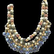 Egyptian Revival Cleopatra Style Vintage Fringe Beaded Necklace