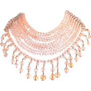 Exquisite Vintage Attrib Coppola e Toppo 9 Strand Vintage Pink Glass Bib Necklace, Fringed