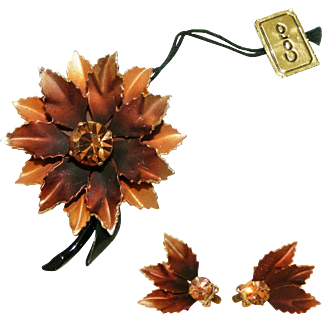 Fall Leaves Signed Coro Pin, Earring Set with Original Tags