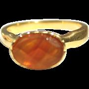 Vintage Fancy Cut Carnelian Stone Gold Vermeil Ring, Size 8
