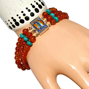 Carved Carnelian & Turquoise, Enameling on Sterling Silver Vintage 3 Strand Bracelet