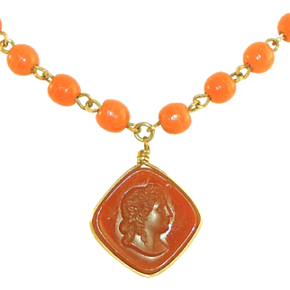 Intaglio Glass Cameo on Vintage Glass Bead Chain Necklace