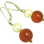 Lustrous Pearls & Carved Carnelian on Sterling Silver Leverbacks Vintage Earrings