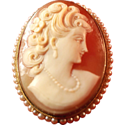 Gold Gilt 800 Silver Vintage Italian Cameo, Seed Pearl Rope Border Pin & Pendant