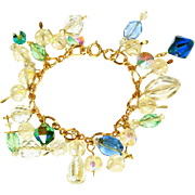 Crystal Glass Vintage Charm Bracelet, Vintage Glass Beads of All Kinds