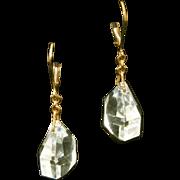 Art Deco Cut Crystal Vintage Pierced Earrings on Leverback Wires