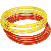 Four Fire Engine Red & Bright Yellow Striped Vintage Czech Glass Bangles