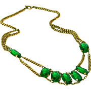 Gorgeous Vintage Green Glass Open Back Stones & Brass CZECH Signed Necklace