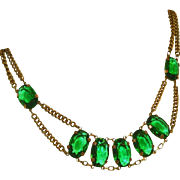 Gorgeous Vintage Art Deco Green Glass Open Back Stones & Brass Czech Signed Necklace