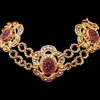 Incredible Vintage Ornate Czech Necklace, Garnet Color Specialty Stones