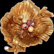 Coro Designer Francois, Gorgeous Textured Gold Rhinestone & Faux Pearl Pin