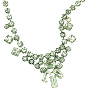 Elegant Antique Rhinestone Prong Set Necklace, Good Size Stones