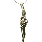 Sterling Silver Unique Vintage Discreet Entwined Young Lovers Pendant