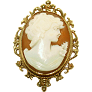 Carved Shell Vintage Fabulous Cameo, Gold Filled, Pin & Pendant
