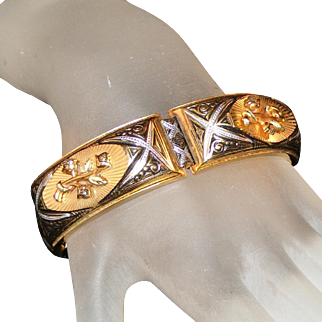Elegant Raised Repousse Worked & Enameled Vintage Panel Bracelet, Safety Chain