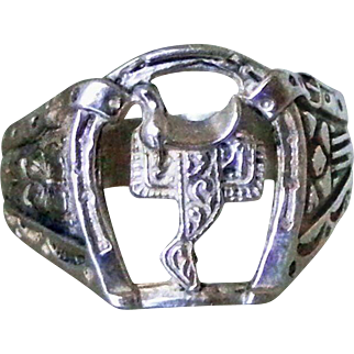 Sterling Silver Horseshoe & Saddle Open Work Vintage Equestrian Ring, Size 10 1/2