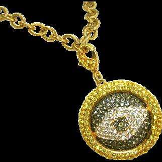 Evil Eye Vintage Designer Signed Rhinestone Pendant Drop Necklace