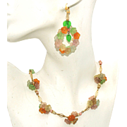 Fall Colors Lucite Flowers Vintage Necklace & Pierced Earrings Set