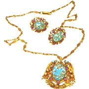 Florenza Signed Turquoise Marbled Cabochons, Pearl, Amethyst Necklace Earring Set