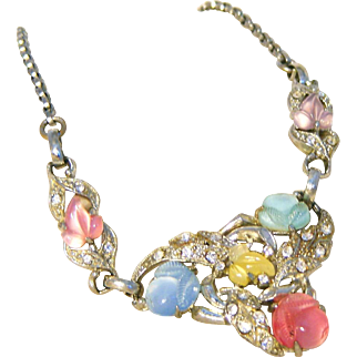 Fruit Salad Carved Glass Flowers Salad & Rhinestone Unsigned Coro Vintage Necklace