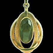 Gold Filled Olivine Stone Vintage Pendant Necklace