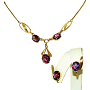Gold Filled Amethyst Purple Stone Vintage Signed Van Dell & 12kt GF Necklace , Earrings c.1940 Set