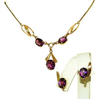 Gold Filled Amethyst Purple Stone Vintage Signed Van Dell & 12kt GF Necklace , Earrings c.1940 Set