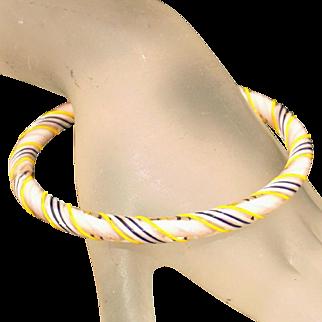 Encased Glass Twisted Cane Vintage Czech Bangle Bracelet, c.1920