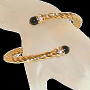 Goldtone Vintage Snake Style Cable Bracelet, Black Glass & Rhinestone Caps