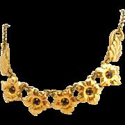 Gold Plated Amethyst Purple Stone Designer Signed Floral Vintage Necklace