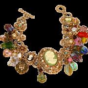 Cameo Vintage Charm Bracelet Signed Graziano