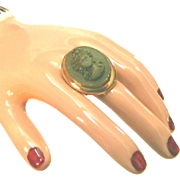 Antique High Relief Lava Cameo Ring, Wide Band, Gold Fill, Size 6 1/2, 10K Gold Band, Gold Filled