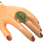 Antique High Relief Lava Cameo Ring, Wide Band, Gold Fill, Size 6 1/2