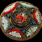 Micro Mosaic Signed Italy Vintage Pin