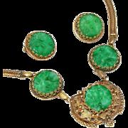 Astounding Art Deco Austro Hungarian, Czech c. 1920 Faux Jade Glass & Tombac Necklace & Earrings Set