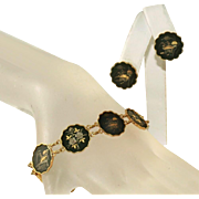 Exquisite Vintage Amita Japan Shakudo Unique Panels Bracelet, Earring c.1940 Set (Damascene)