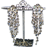 "Knockout 3 ½"" Smoky Rhinestones & Crystal in Silver Chandelier Shoulder Duster Vintage Juliana Clip Earrings"