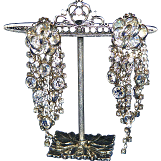 "Knockout 3 ½"" Smoky Rhinestones & Crystal in Silver Chandelier Shoulder Duster Vintage Juliana Clip Earrings"