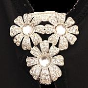 Art Deco Large Diamante & Clear Cabochon Glass Stones Pave Set Floral Dress Clip