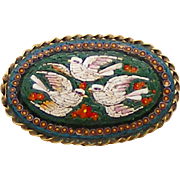 Large Museum Quality Three Pliny Dove Micro Mosaic Antique Pin, Rope Frame with 3 Mosaic Borders
