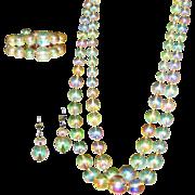 Lucite 'Bubble' Vintage Necklace, Bracelet, Earrings Set, Parure